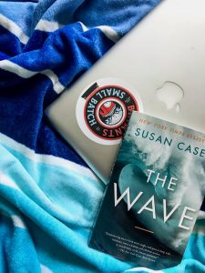 the front of The Wave by Susan Casey is visible on top of a silver MacBook with a sticker on it. Underneath these is a beach towel with different shades of blue stripes