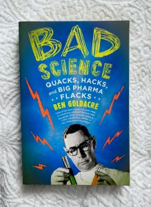 Front cover of Bad Science by Ben Goldacre on a white textured background