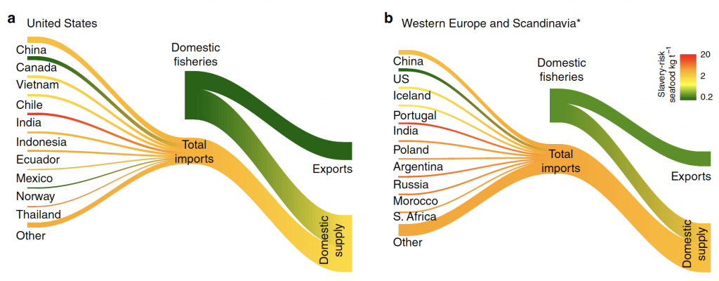 Diagram showing that the more that the US, Western European, and Scandinavian countries import fish from high slavery-risk countries, the more likely that the domestic supply contains illegally caught fish